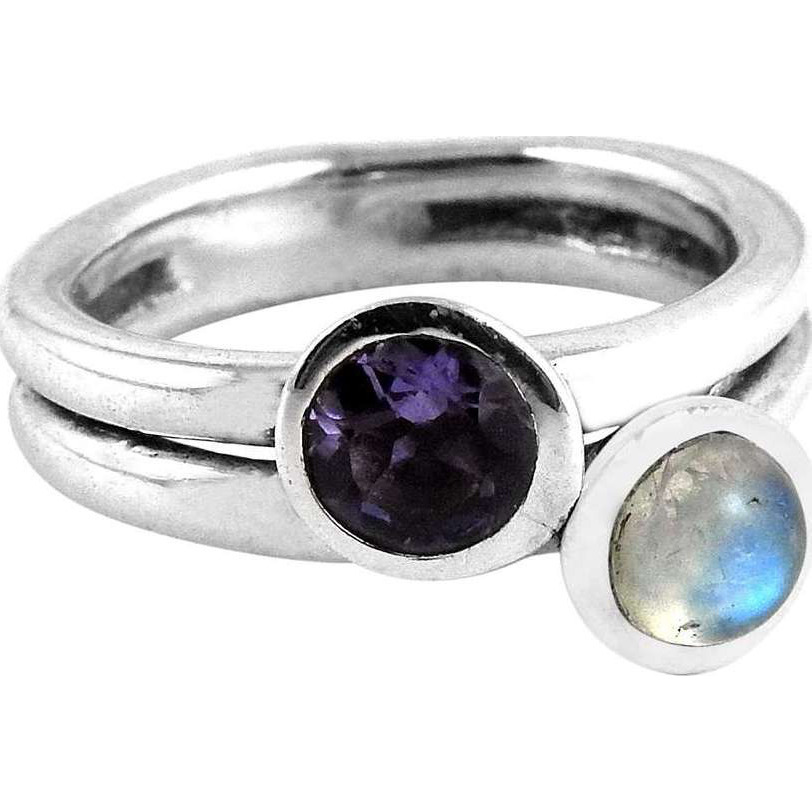 Nice Looking!! Rainbow Moonstone, Iolite 925 Sterling Silver Ring