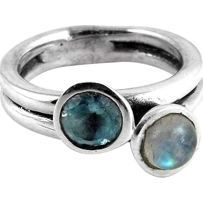 Ornate!! Rainbow Moonstone, Blue Topaz 925 Sterling Silver Ring