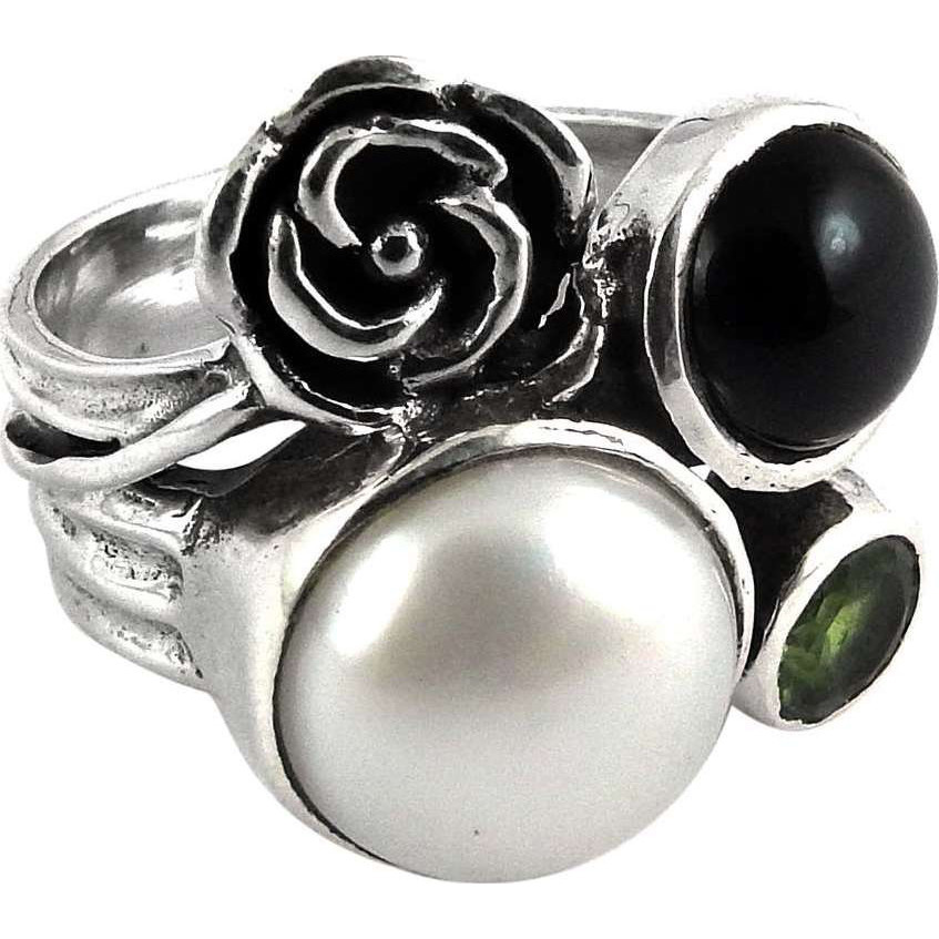 Personable!! Pearl, Black Onyx, Peridot 925 Sterling Silver Ring