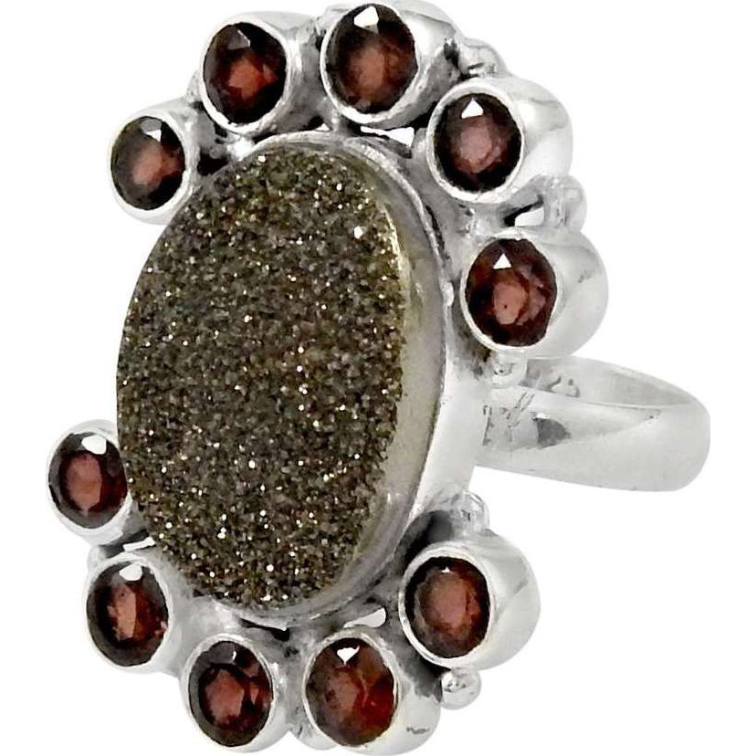 Large !! 925 Sterling Silver Drusy & Garnet Ring