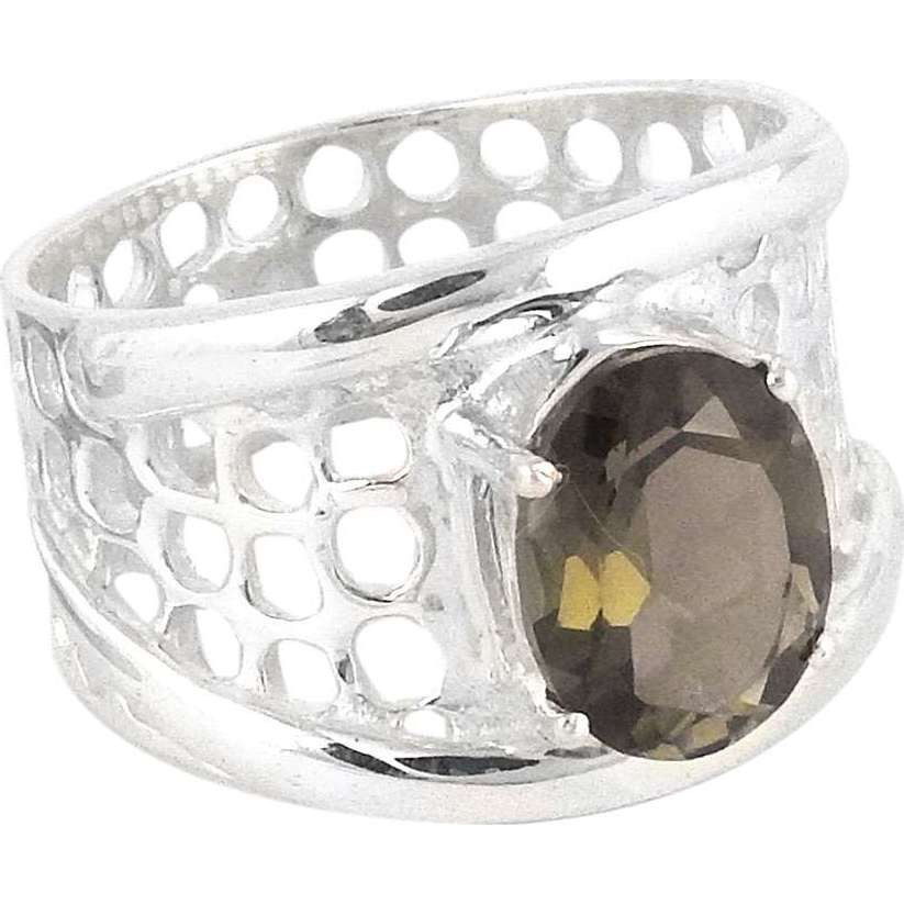 Beautiful !! Smoky Quartz 925 Sterling Silver Ring