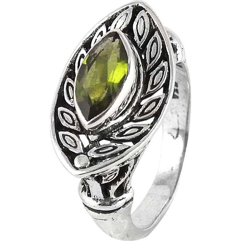 Victorian Style! Peridot 925 Sterling Silver Rings