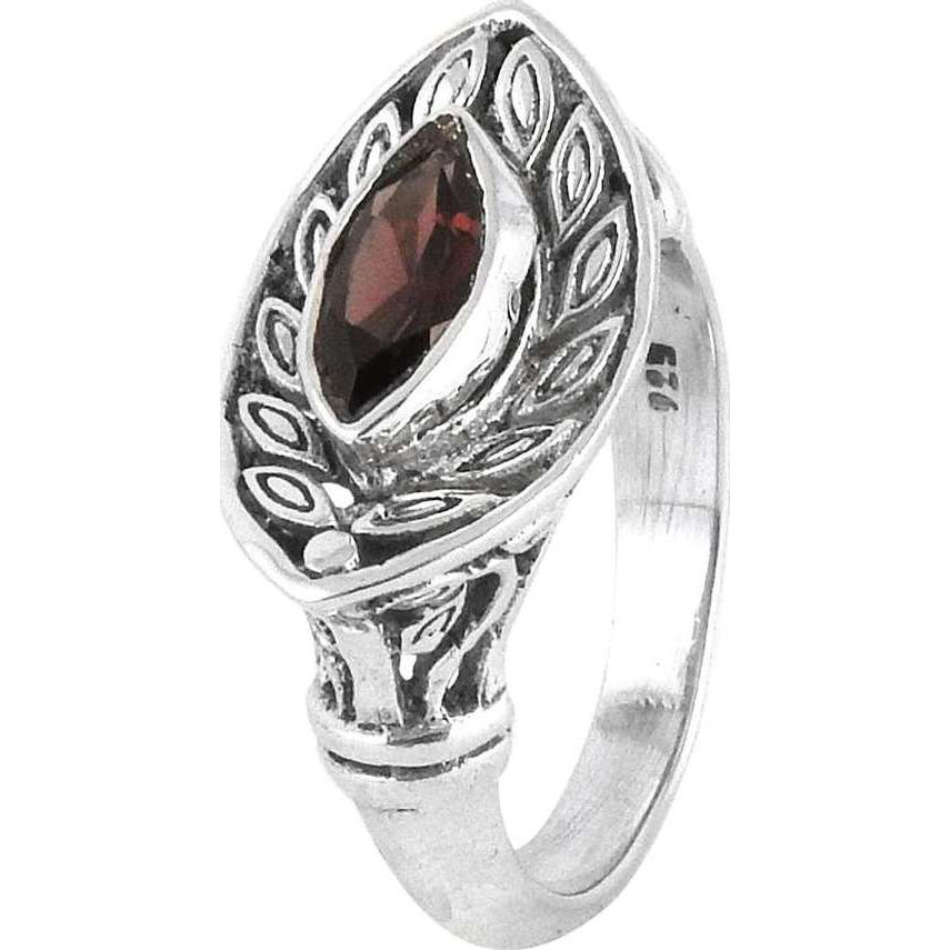 Big Royal Style! Garnet 925 Sterling Silver Ring