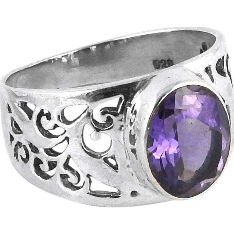 Delicate Light! Amethyst 925 Sterling Silver Rings
