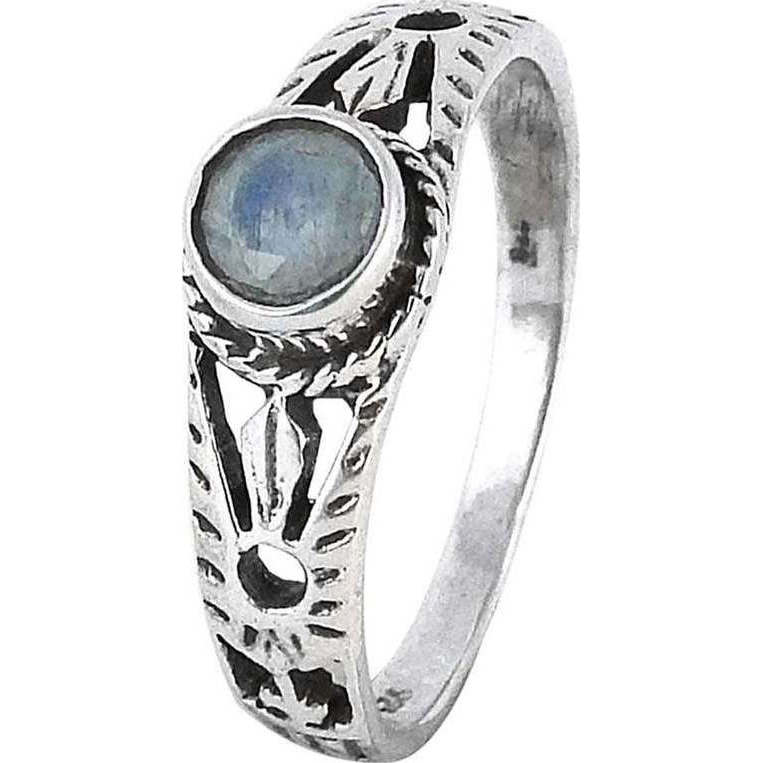 Briliance! Rainbow Moonstone 925 Sterling Silver Ring