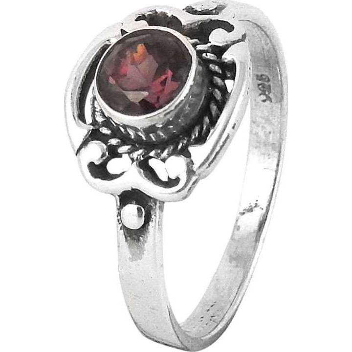 Antique Look ! Garnet 925 Sterling Silver Ring