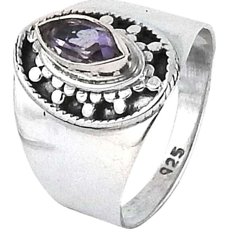 Large Fashion ! Amethyst 925 Sterling Silver Ring