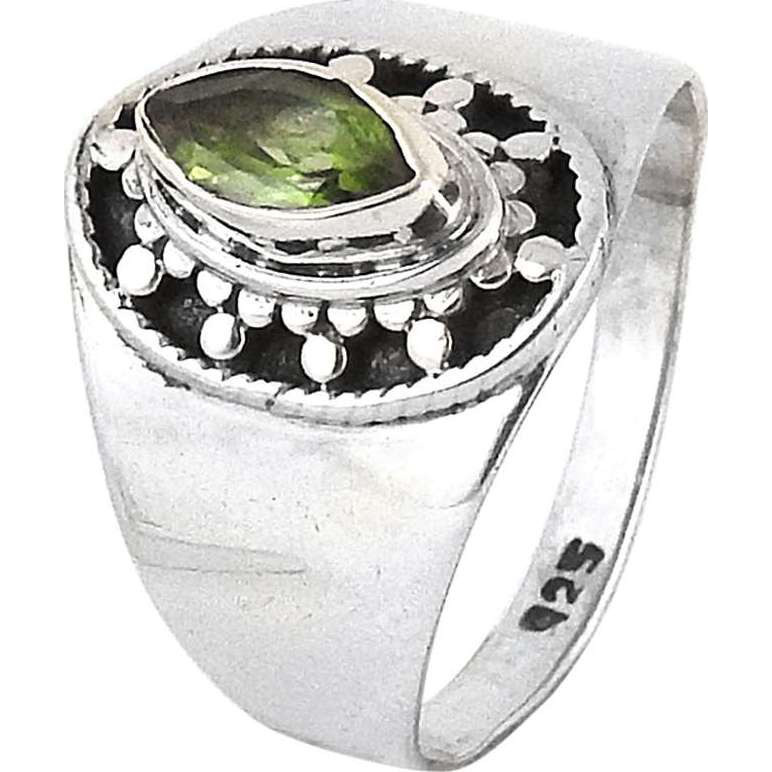 New Faceted ! Peridot 925 Sterling Silver Ring