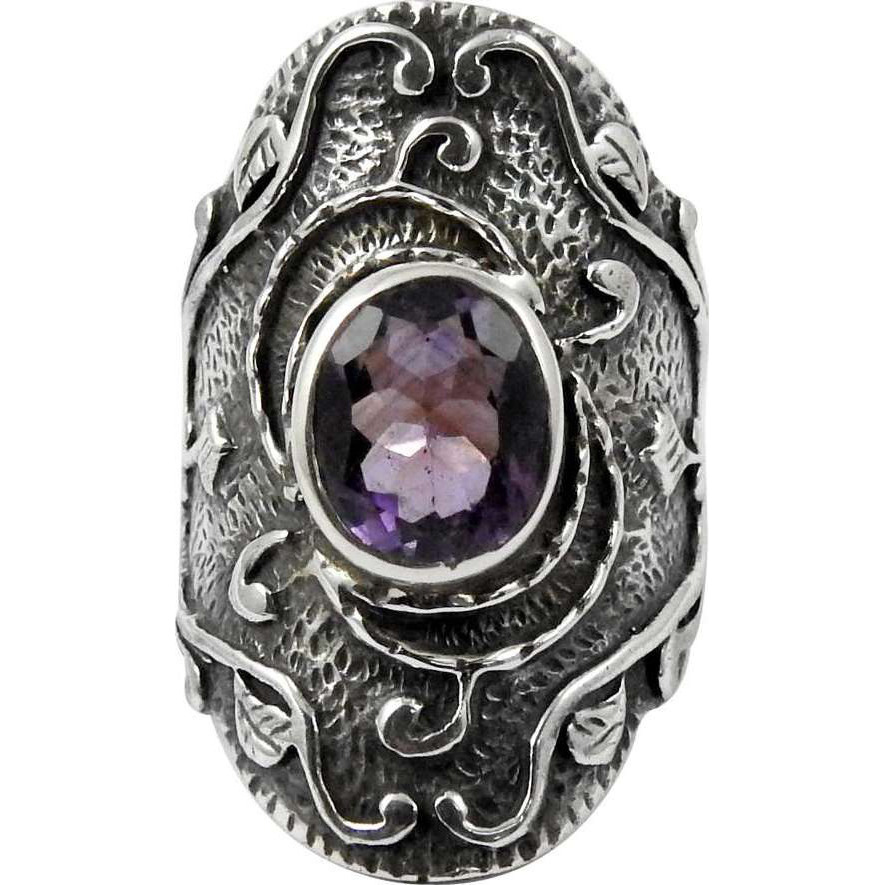 Large Stunning ! Amethyst 925 Sterling Silver Ring