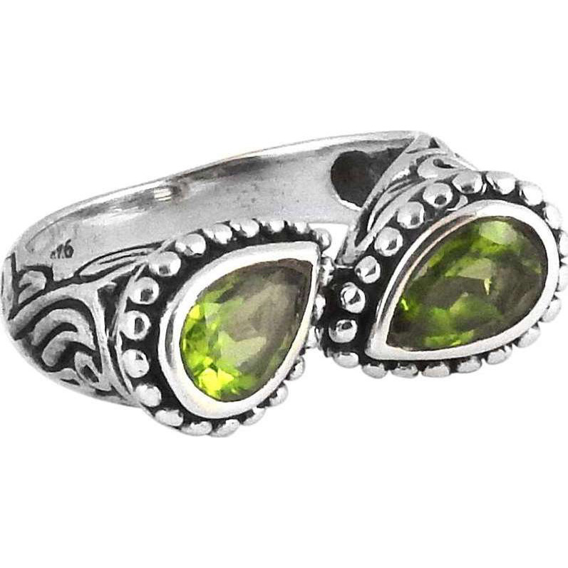 Caribbean Sea ! 925 Sterling Silver Peridot Ring
