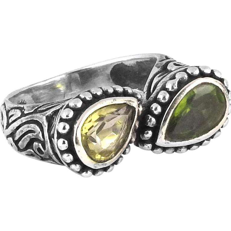 Amazing Design!! Peridot, Citrine 925 Sterling Silver Rings