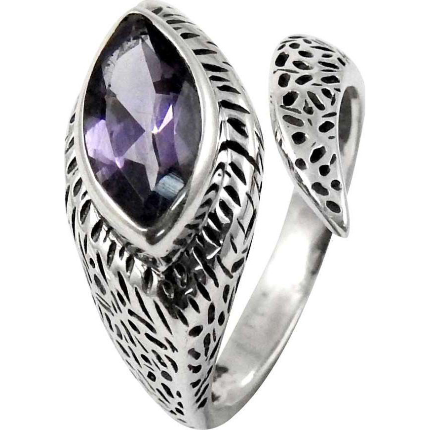 Two Tones Royal Dark!! Amehtyst 925 Sterling Silver Ring