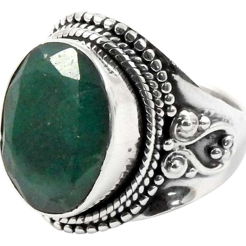 Misty Morning!! Emerald 925 Sterling Silver Ring