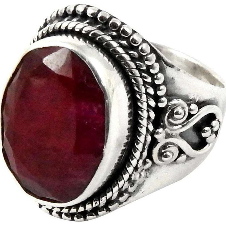 Big Delicate!! Ruby 925 Sterling Silver Ring