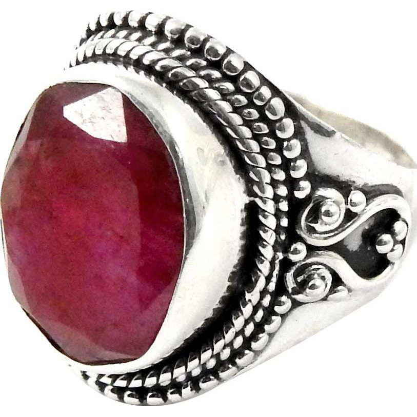 Big Fabulous!! Ruby 925 Sterling Silver Ring