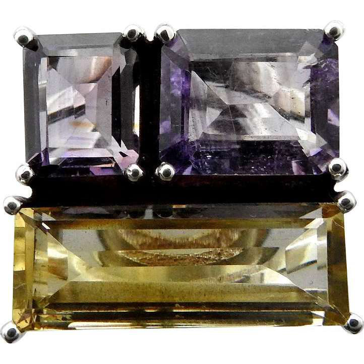 Antique Look!! 925 Sterling Silver Amethyst, Citrine Ring