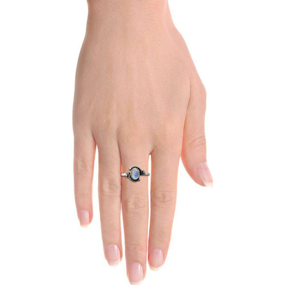 Royal ! 925 Sterling Silver Rainbow Moonstone Ring