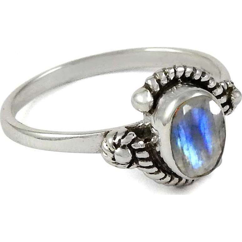 Delicate ! 925 Sterling Silver Rainbow Moonstone Ring