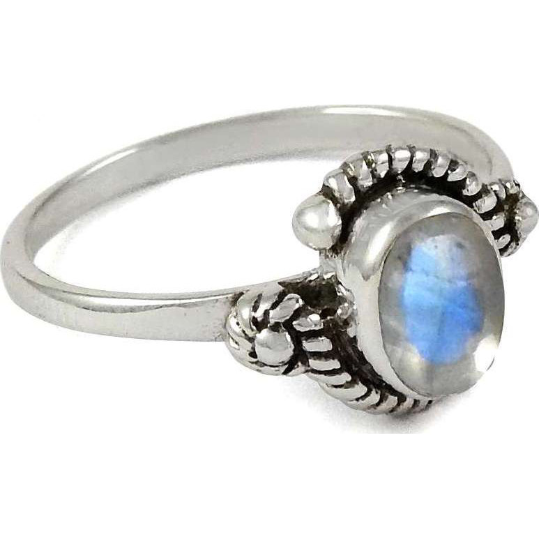 Perfect ! 925 Sterling Silver Rainbow Moonstone Ring