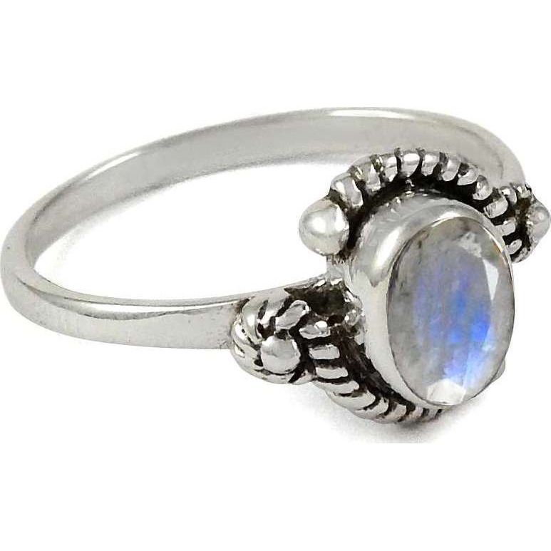 Tropical Glow ! 925 Sterling Silver Rainbow Moonstone Ring