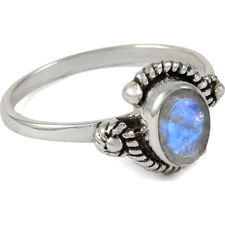 Big Inspire ! 925 Sterling Silver Rainbow Moonstone Ring