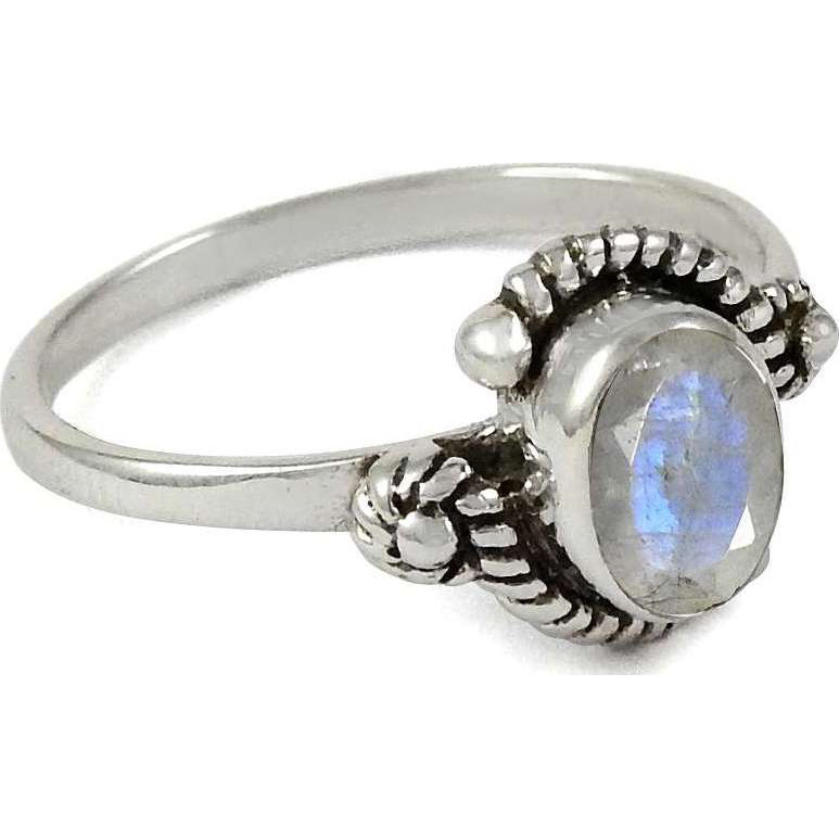 Big Natural ! 925 Sterling Silver Rainbow Moonstone Ring