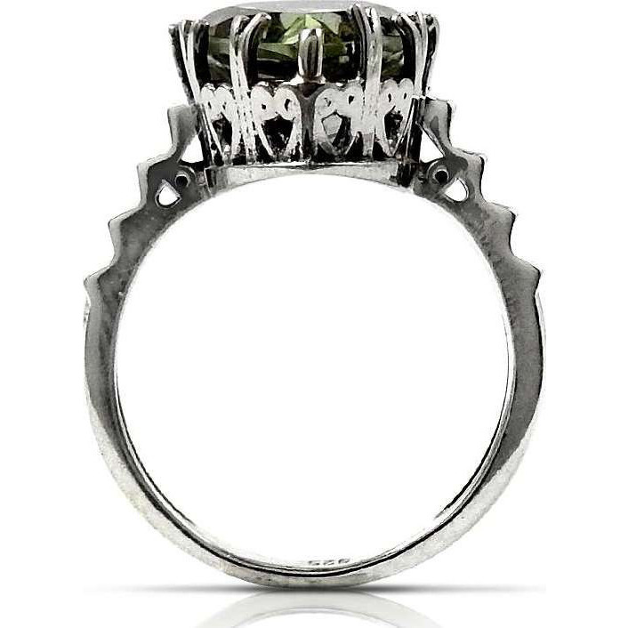 Classy Style! 925 Sterling Silver Green Amethyst Ring