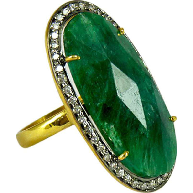 Victorian Style 925 Silver Emerald, White CZ Ring