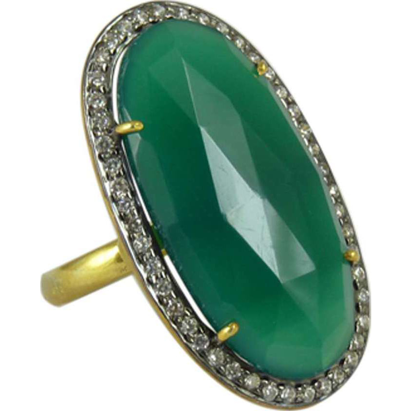 Franqipani Queen 925 Silver Green onyx, White CZ Ring