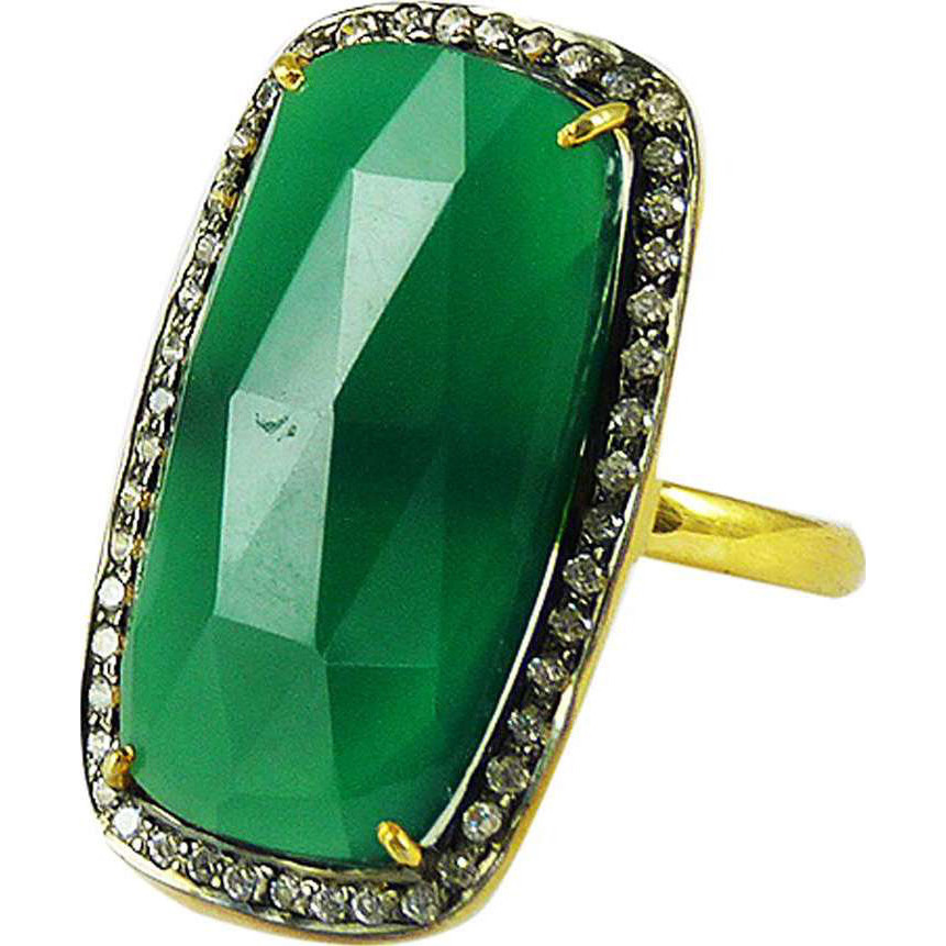 Passionate Modern Style Of 925 Silver Green onyx, White CZ Ring