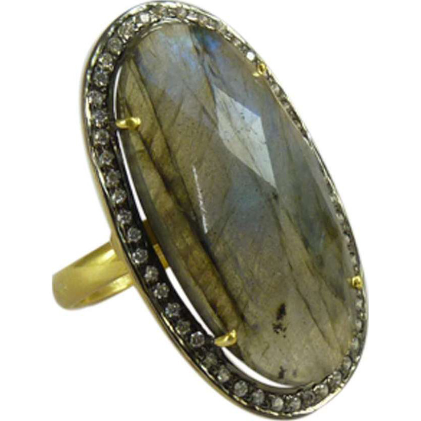 Great 925 Silver Labradorite,White CZ Ring