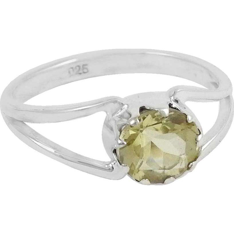 New Exclusive Style! 925 Silver Lemon Topaz Ring
