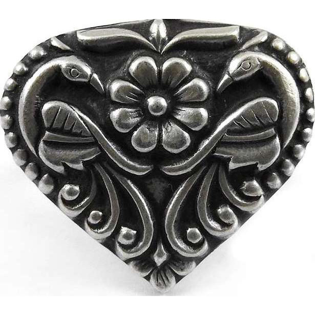 Heart Shape Peacock Design 925 Sterling Silver Ring