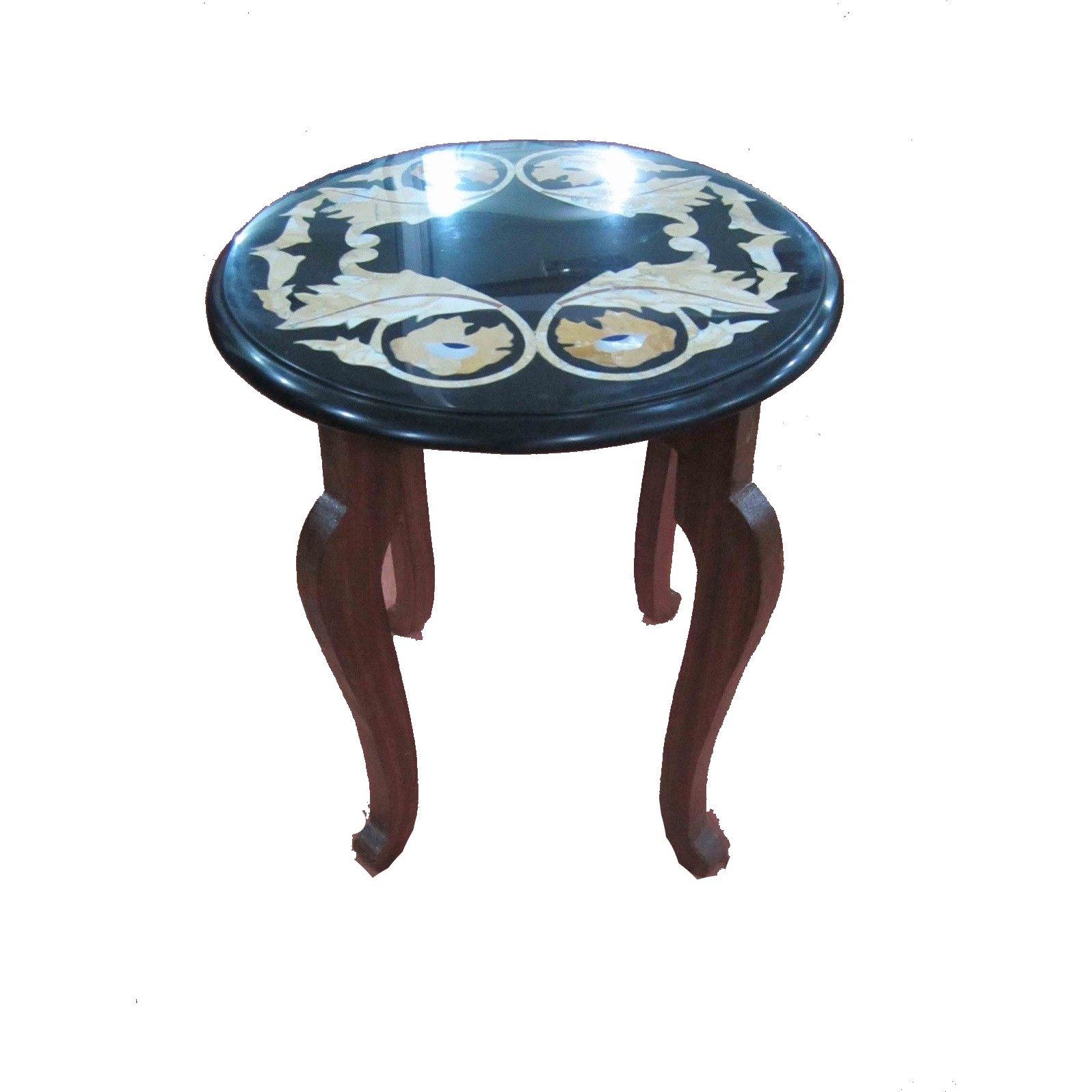 Black Marble Table Top  with H 18 inch wooden Stand