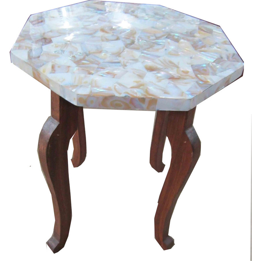 White Marble Table Top  with H 18 inch wooden Stand