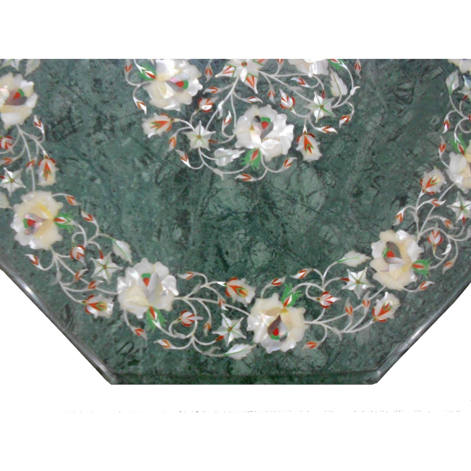 Green Marble Table Top  with H 18 inch wooden Stand