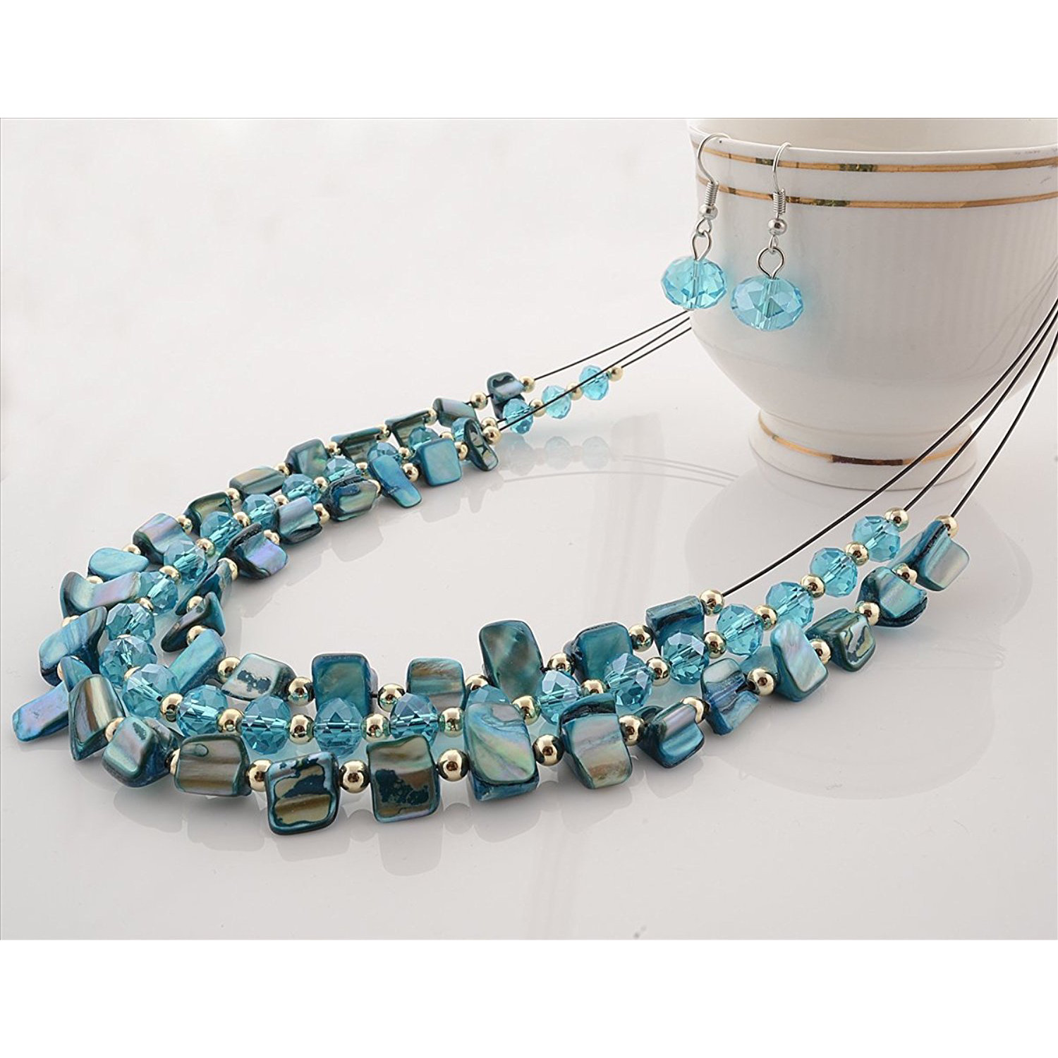 Zephyrr Fashion Multi Strand Necklace Earrings Set Handmade Blue Beads: Jewelry