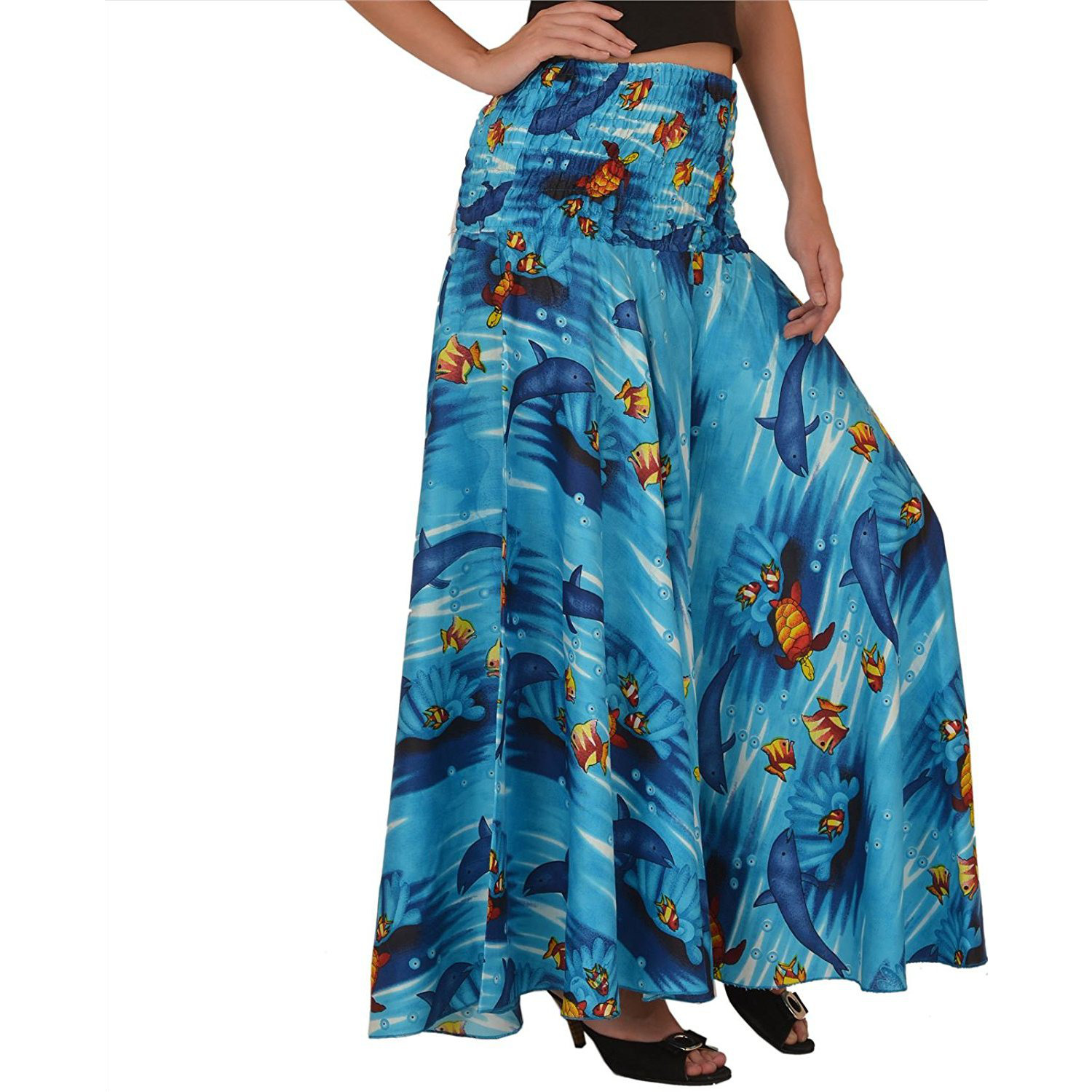 Sns Cotton Printed Wide Leg Palazzo Pants Trouser Pajama For Women Casual Wear: Clothing