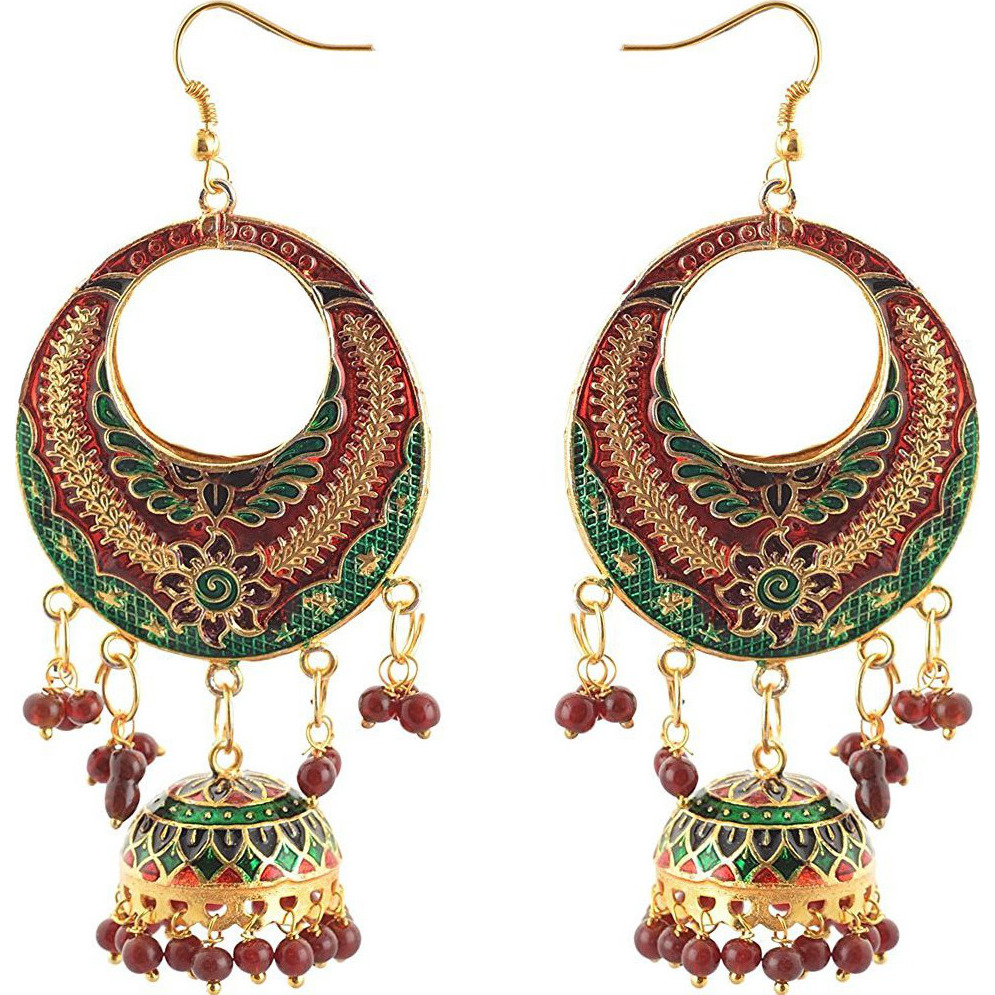 Zephyrr Fashion Lightweight Chandbali Hook Earrings With Meenakari And Beads: Jewelry