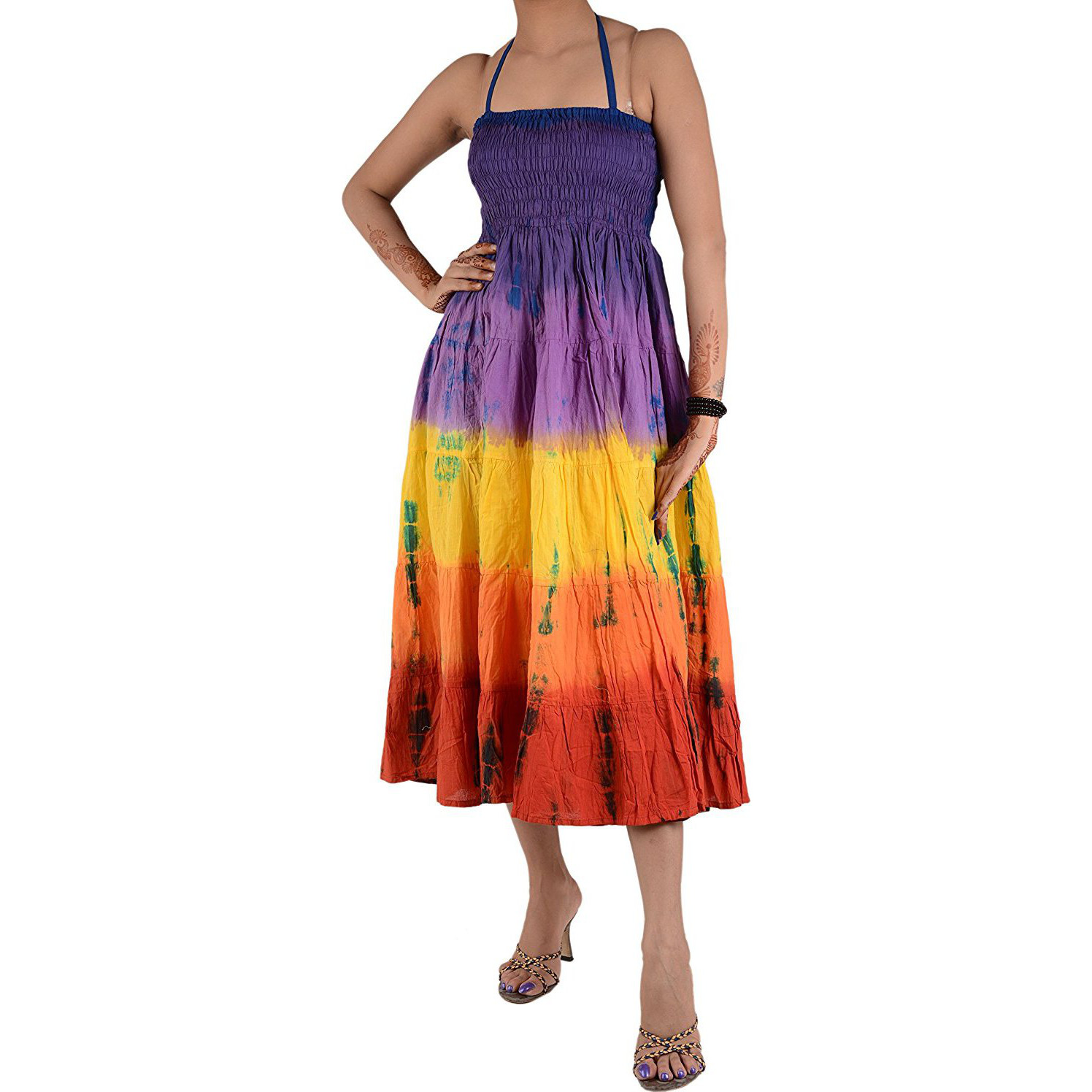 Skirts N Scarves Women Long Maxi Cotton Tie Dye Party Dress Skirt (Multi)