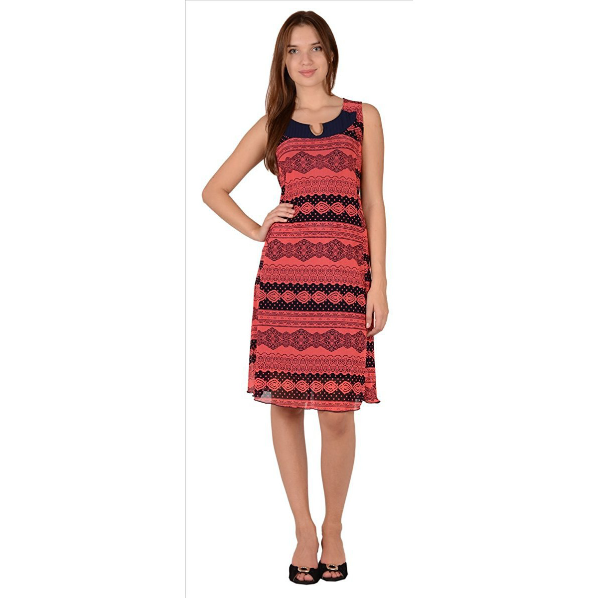 Sns Net Short Dress Tunic Top For Women Printed With Scoopneck