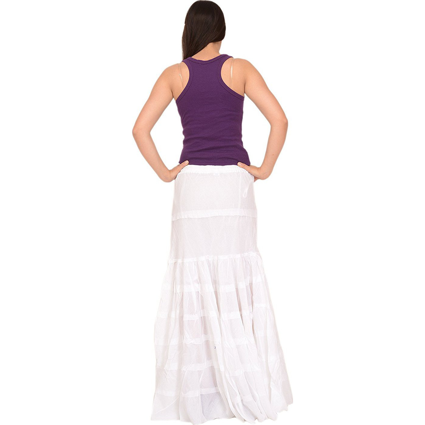 Sns Womens Cotton Bohemian Long White Maxi A-Lined Skirt