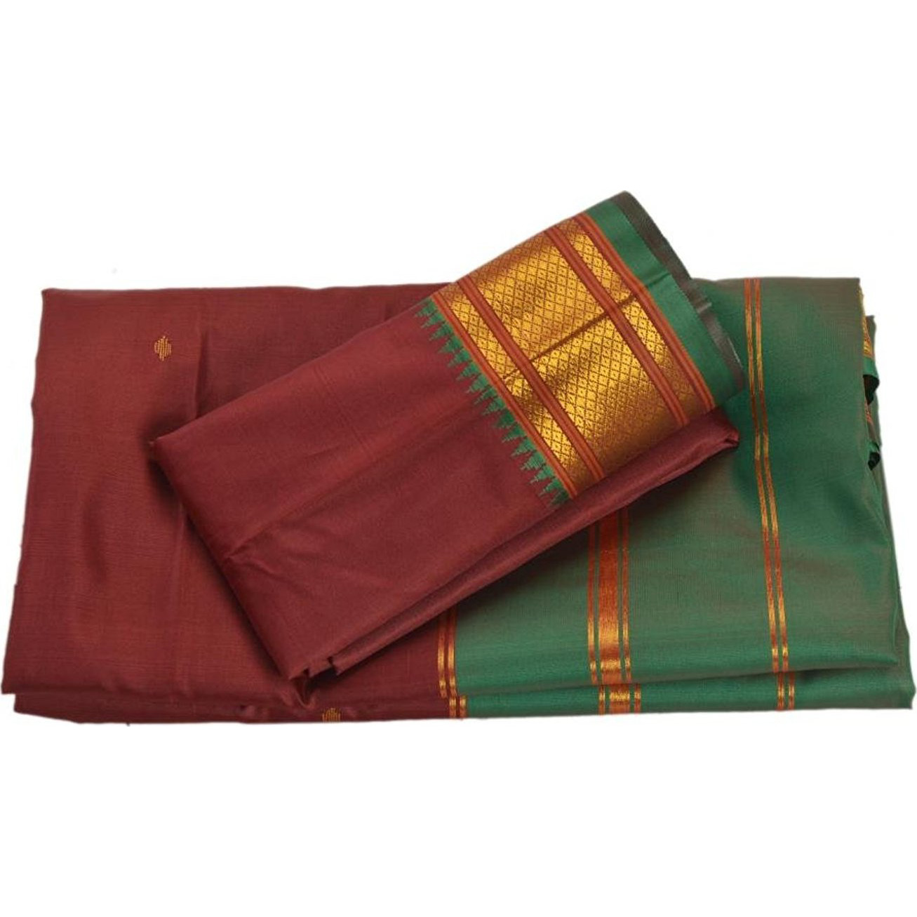 Skirts 'N Scarves Women'S Woven Indian Art Silk Sari With Blouse Piece (Maroon): Clothing
