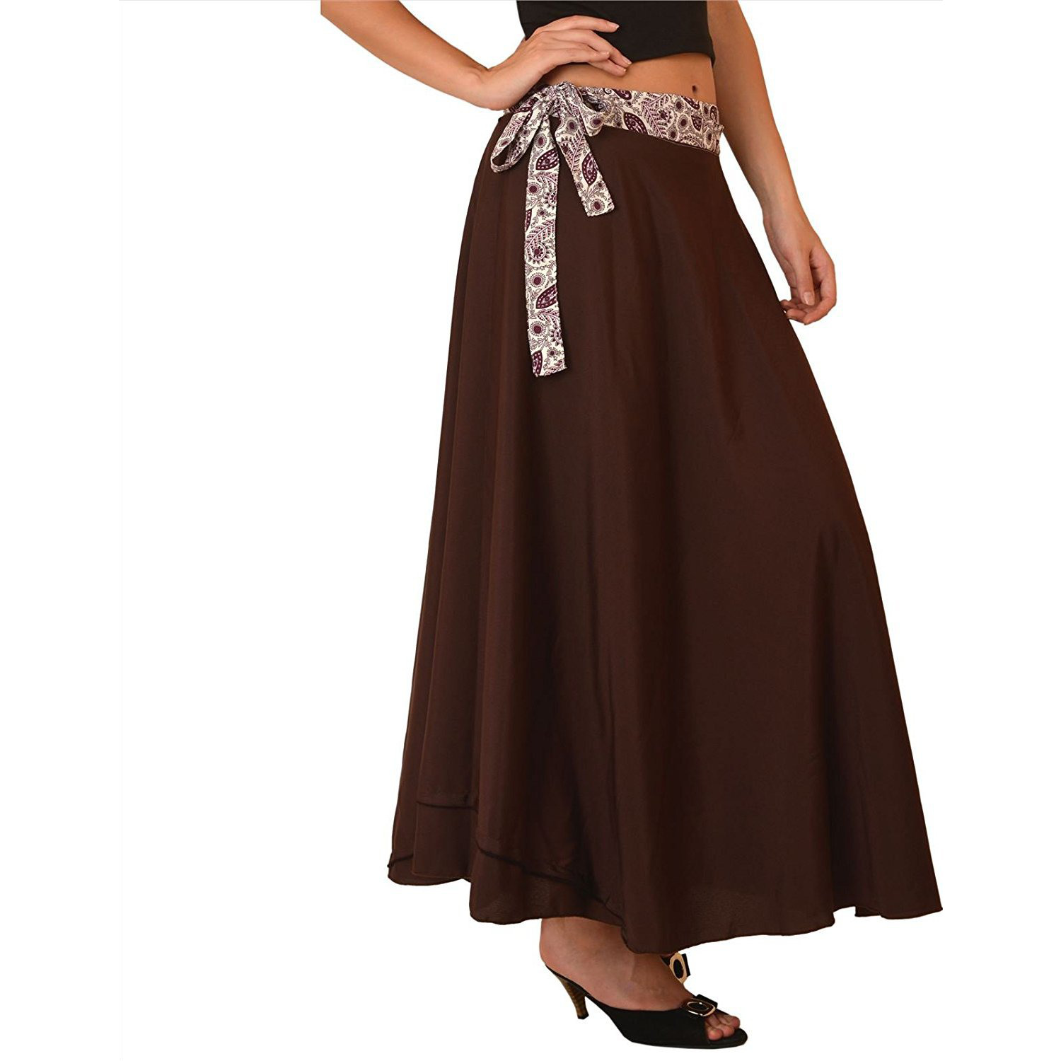 Sns Moss Crepe Magic Wraparound Printed Reversible Long Magic Wrap Skirt
