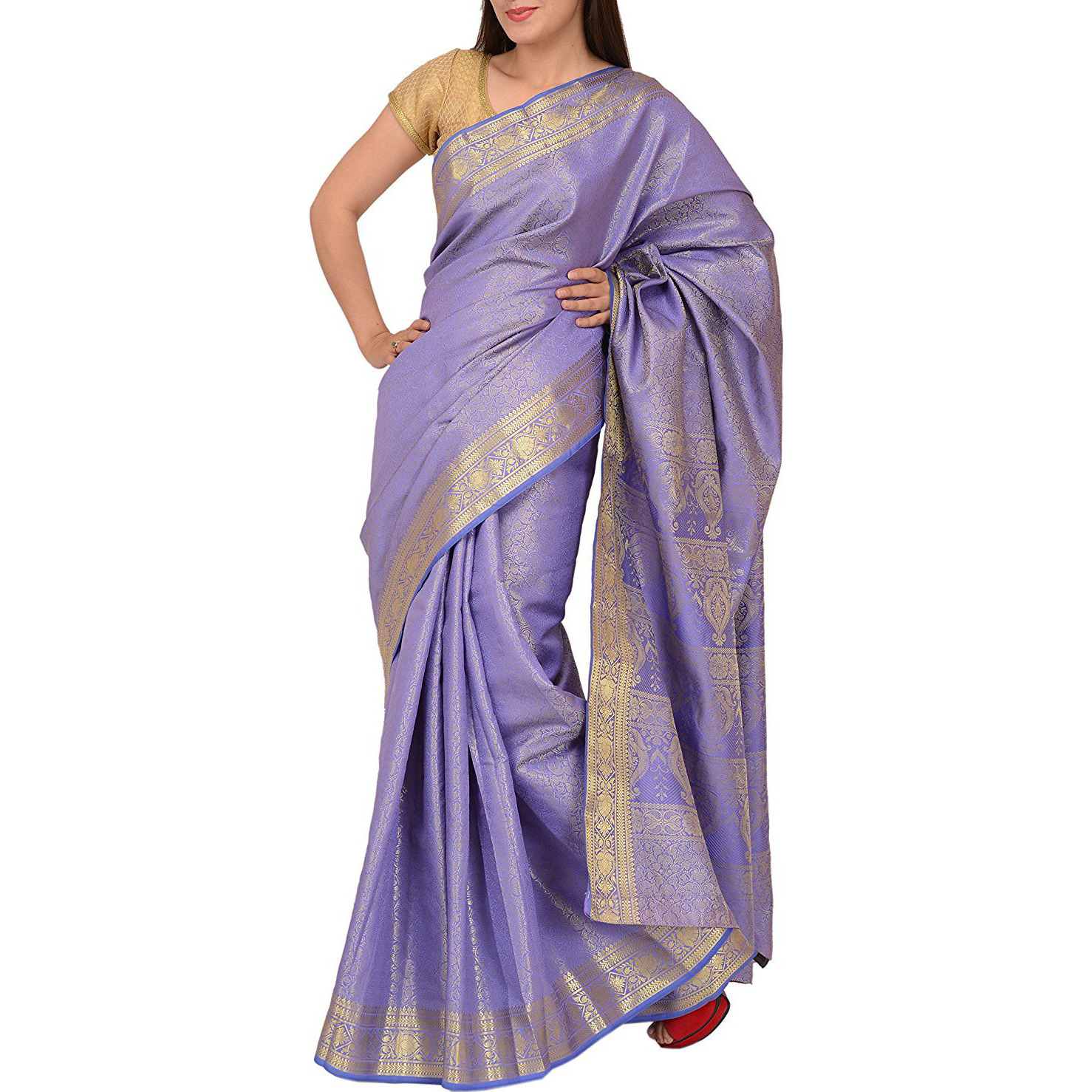 Skirts 'N Scarves Women'S Art Silk Brocade Saree With Blouse Piece (Blue): Clothing