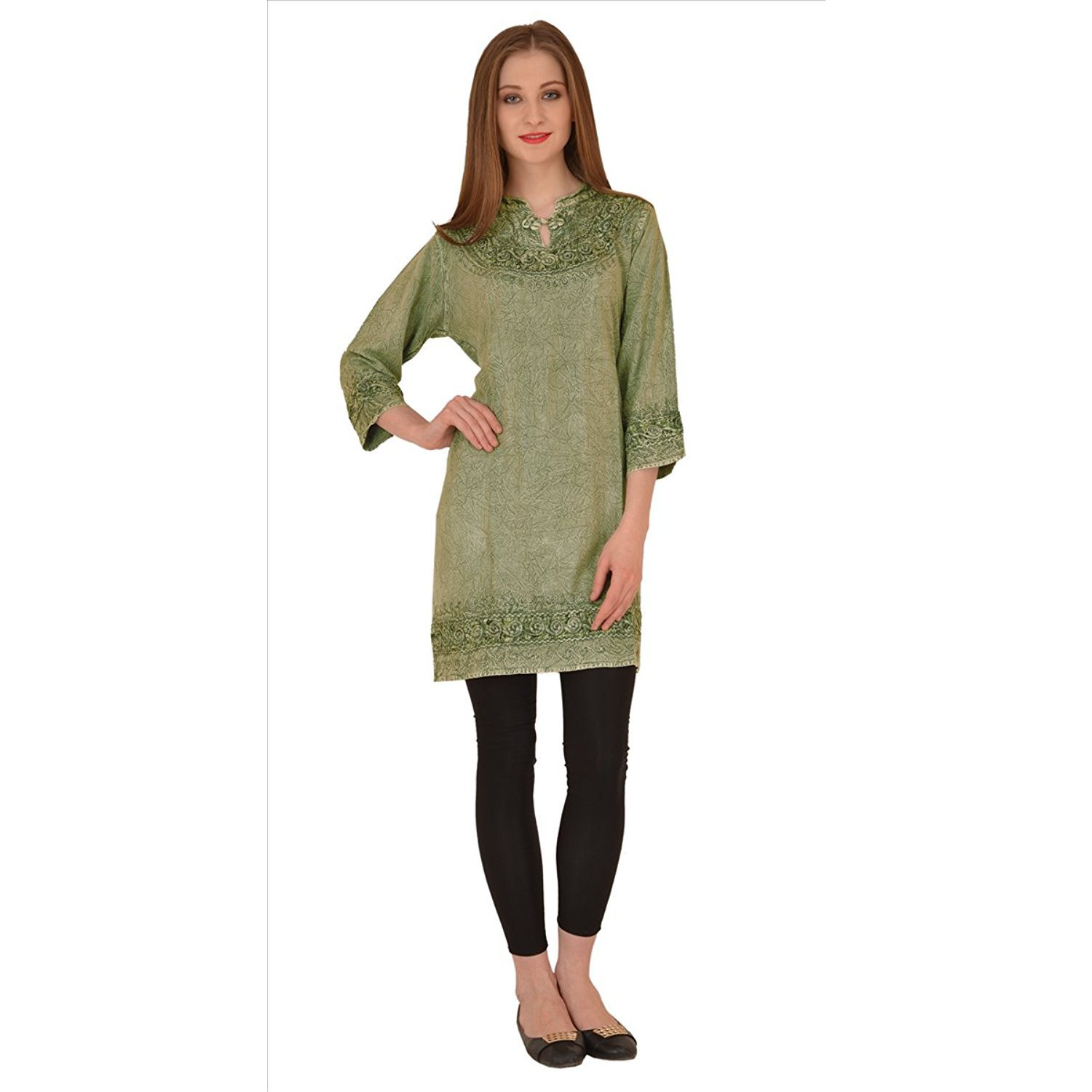 Sns Tunic Tops For Women, Stone Wash Rayon 3/4th Sleeves Mandarin Collar Tunics