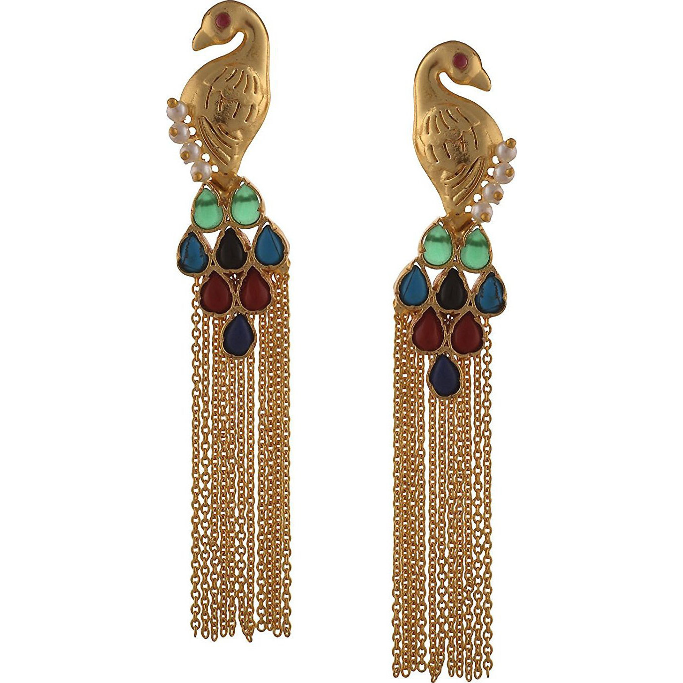 Zephyrr Traditional 18k Gold Plated Handmade Jadau Hanging Earrings Pearls Onyx: Jewelry