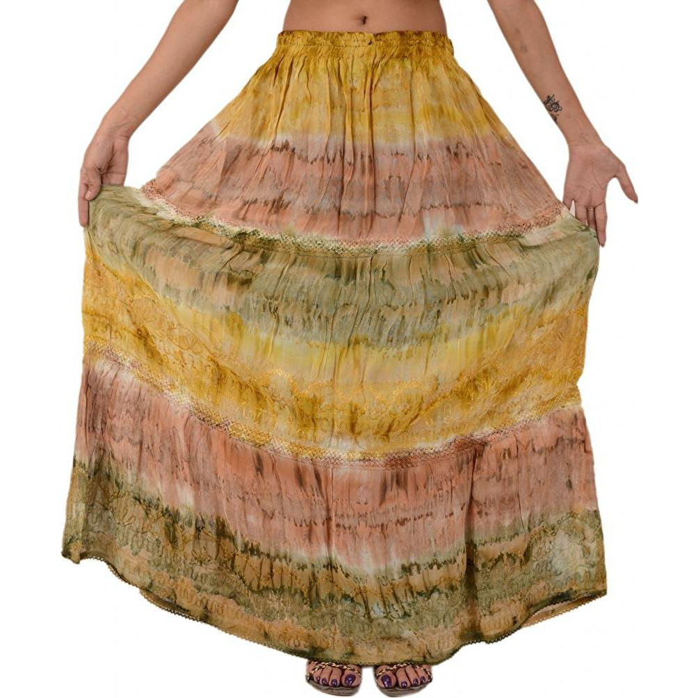 Skirts 'N Scarves Woman Embroidered Long Skirt Georgette Tie Dye Maxi Lace Work