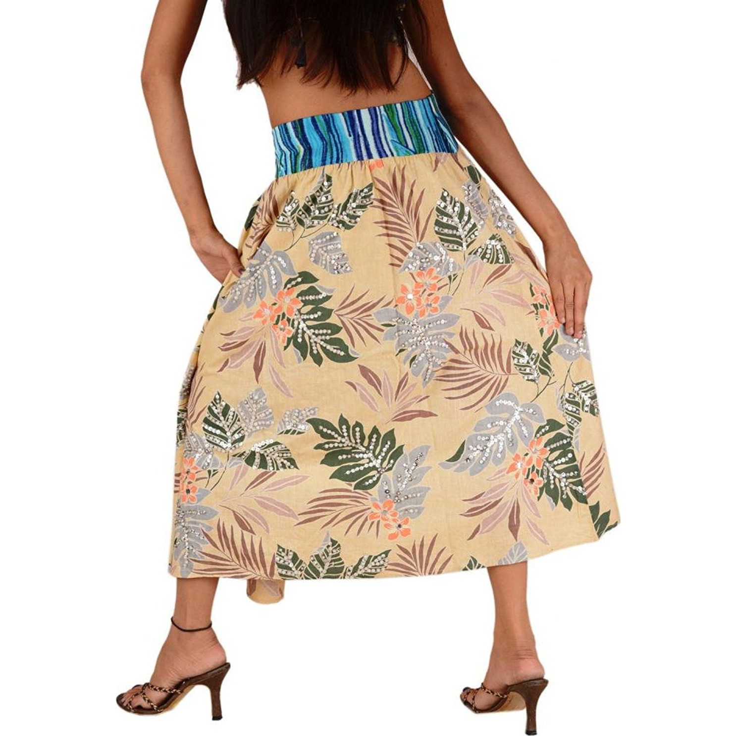 Women New Long Skirt Cotton Printed Maxi Elastic Floral Design Cream