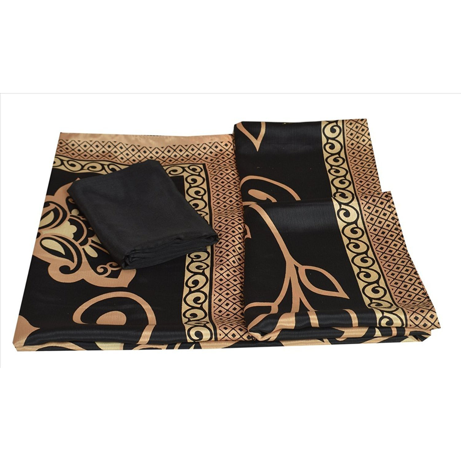 Sns Women Indian Moss Crepe Silk Sari Fabric With Blouse Piece Printed Floral: Clothing
